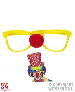 Riesen Clowns Brille gelb ohne Glas mit roter Nase 1437