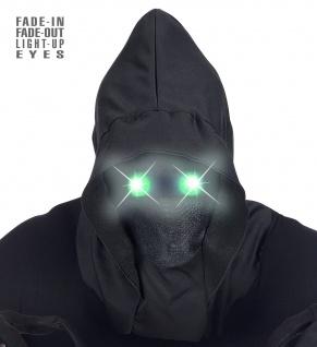 Maske schwarz unsichtbares Gesicht GRÜNE leuchtende Augen Halloween
