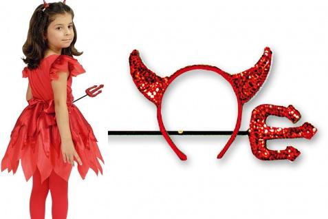 3 tlg Teufel Kostüm, Mädchen Kinder + Haarreif +Teufelsgabel rot
