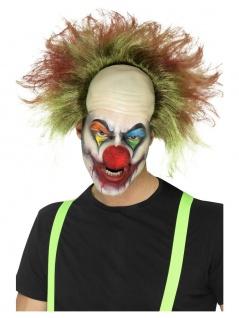 Boeser Killer Clown Glatze Perücke gruen mit Blutspritzer Halloween Herren