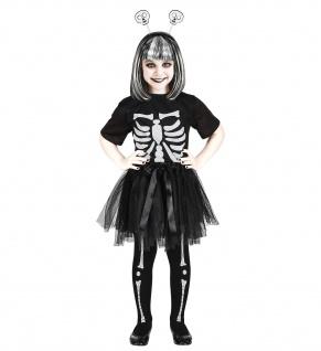 3 tlg. Skelett Tutu Top Haarreif Kostüm Kinder Mädchen Halloween