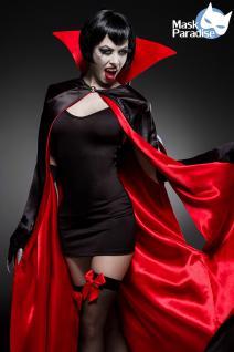 Sexy Vampir Set, 4tlg Kostüm Umhang Cape, Overknee, Handschuhe Damen