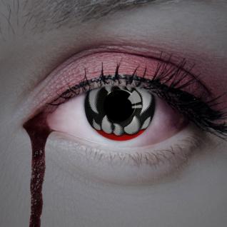 farbige Kontaktlinsen bissige Augen schwarz rot Zähne Halloween Jahreslinsen