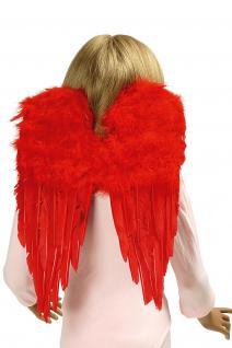 Engel Flügel, Federn ROT, Kinder Erwachsene 30x45 cm, Weihnachten Teufel