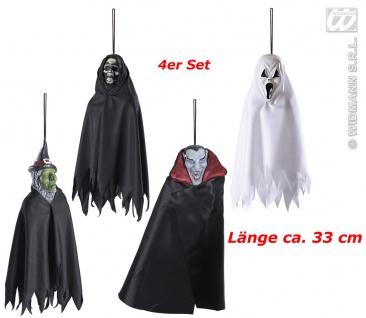 4 x Hänge Kreaturen, Deko, Hexe, Dracula, Tod, Halloween