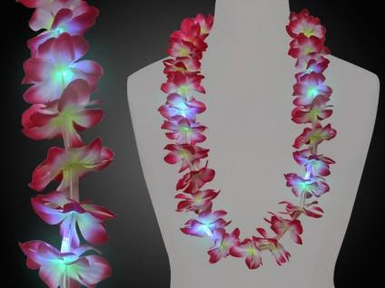 LED Hawaiikette Blumenkette, Party Hawaii pink weiß gelb, LED Licht
