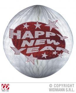 SILVESTER Deko Bienenwabe, Lampion Globus silber rot HAPPY NEW YEAR