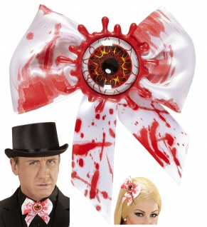 Fliege Schleife weiss, blutiges Auge Herren Damen Halloween Party