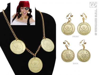 Piraten Piratinen Halskette Schmuck gold Kette + Ohrclips Kostüm, 1883