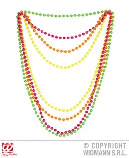 80er Jahre bunte 4er Perlenkette Neon Damen