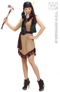 Indianerin Squaw, 3-tlg Kostüm, Kleid, Gürtel, Haarband ---L-40-42
