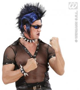 Punk Gothic Armband, schwarz m. Spitzen, Dornen Karneval Damen Herren