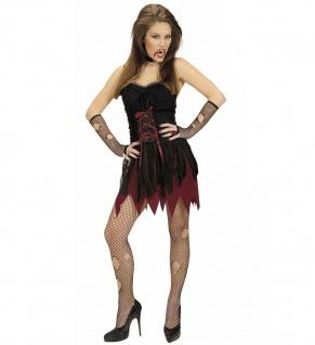 2 tlg Vampira Vampir Kostüm, Damen, Halloween Karneval sexy kurz, Gr. 34