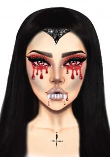 Vampir Tattoo Aufkleber Schmucksteine Strass Gesicht Halloween Karneval