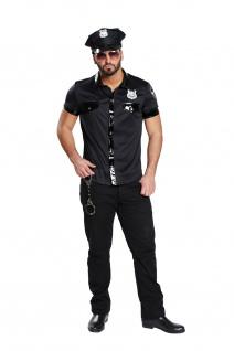 POLIZEIHEMD, sexy Kostüm schwarz Kurzarm Lackleder Optik XL- 56