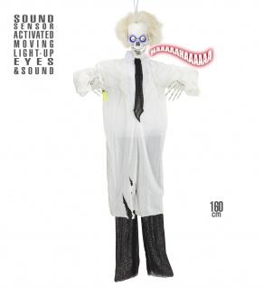 Deko Figur Arzt Skelett Tod Sound bewegliche Augen 160 cm Halloween Tonaktiviert