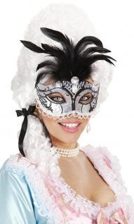 Augenmaske, Venezianische Maske, Rokoko, Barock, Maskenball, silber-schwarz 6584