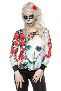 Geist Ghost Sweatshirt Shirt dia de los muertos Damen grün bunt Gr. S