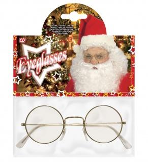 Brille NIckel, gold, Messing rund Weihnachtsmann Santa Claus Oma Zwerg