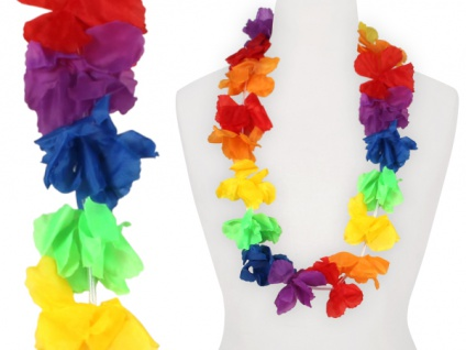 Hawaiikette Hawaikette Blumenkette Textilblüte Regenbogen bunt 1 m