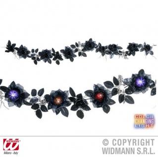 Girlande schwarze Rosen u. Totenköpfe mit Farbwechsel, Licht Halloween 7871