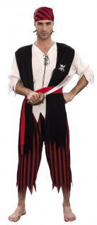 4 tlg. Piraten Kostüm, Seeräuber Herren, M= 48, 50