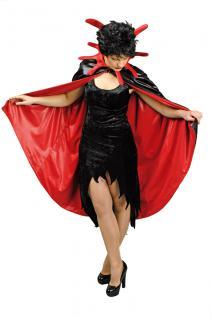 Teufel Umhang Steh Kragen schwarz rot Damen doppellagig 115cm Halloween Karneval