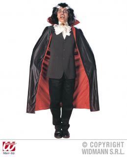Dracula Vampir Umhang Herren Cape, rot-schwarz m. Kragen