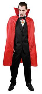 Umhang, Cap, Dracula, Vampir, ROT 120 cm, Herren, Halloween 9692