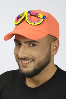 NEON Basball Kappe Cap Mütze Damen Herren orange, Neon bunte Perlen Brille