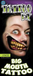 TATTOO FX face Gesicht Riesen Mund schief Theaterqualität Effekte Schminke