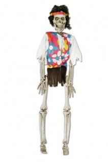 Deko Skelett Figur Zombie HIPPIE z Hängen 45x12 beweglich Halloween