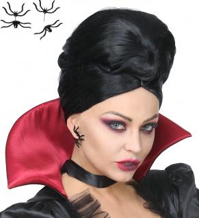 2 Spinnen Ohrstecker Ohrring schwarz, Ohrschmuck, Halloween Karneval