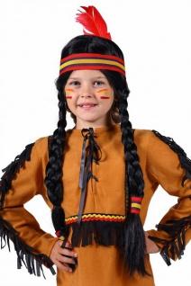 Indianer Perücke schwarz mit langen Zöpfen, Feder Kinder Mädchen Karneval