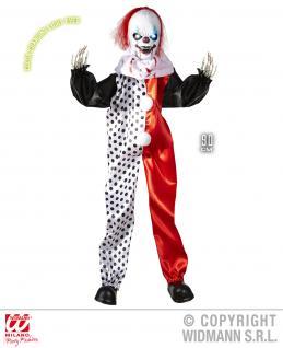 Deko Figur böser Clown Tod Killer animiert m. leuchtenden Augen, Halloween