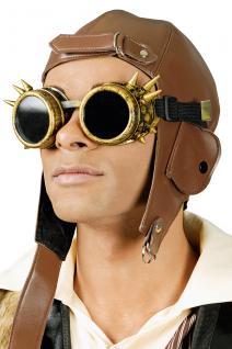 Fliegerbrille, Gothic Steampunk Kupfer Retro Stacheln Flieger Karneval - Vorschau 1