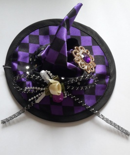 Hexen Minihut Hexenhut lila schwarz, Haarclips, schöne Applikationen Damen