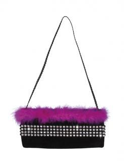 Tasche, Beutel Marabou Federn schwarz pink Junggesellinnenabschied