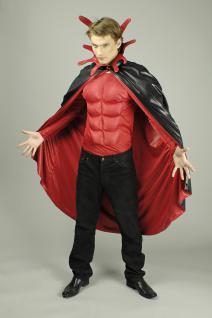 Teufel Umhang Steh Kragen schwarz rot Herren 136 cm Halloween Karneval - Vorschau 1