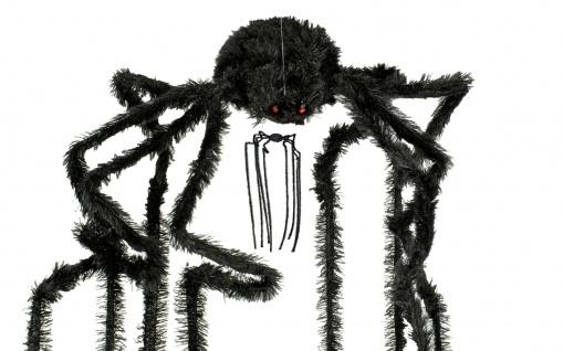 Riesen Spinne schwarz ca. 30 x 60 cm animiert Deko Halloween Horror - Vorschau 2