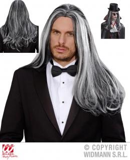 Perücke wie ECHTHAAR Herren Vampir grau-schwarz Halloween M9