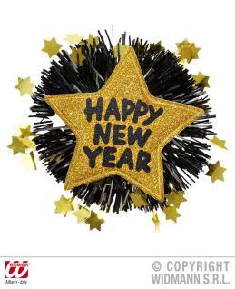 SILVESTER, Party Brosche, Anstecknadel HAPPY NEW YEAR Stern gold, silber - Vorschau 2