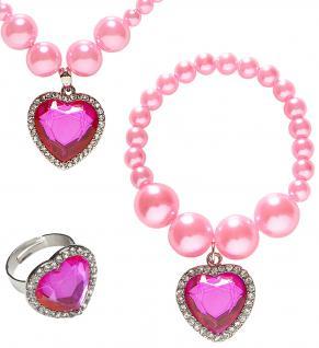 Prinzessin Schmuck 3tlg, Kinder, Perlen rosa Ring, Kette, Armband
