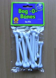 10 Knochen zum Annähen Neandertaler Deko Steinzeitmensch Karneval Halloween