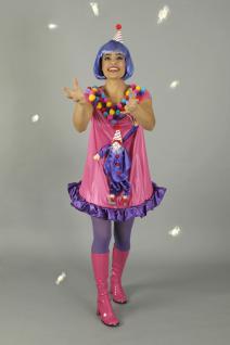 3 tlg. Clown Kostüm, Hut + Strumpfhose lila Damen Karneval 40-42