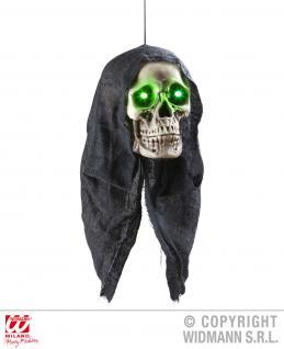 Skelett Totenkopf m.Kapuze LED Augen leuchtend Hängedeko animiert