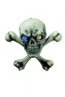 Totenkopf, gekreuzte Knochen, LED Blinkaugen Figur Hänge Deko Grusel Halloween