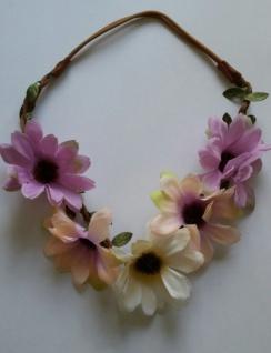 Haarband Blumen Haarreif geflochten Leder Blüten Trachten Wiesn Stirnband