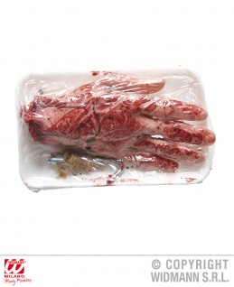 Blutige abgehackte Menschen Hand + Fleischhaken Horror Halloween Deko