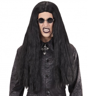 Vampir Dracula Eastbourne Perücke schwarz lang Herren Damen Halloween